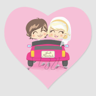 Just Married Couple Heart Sticker