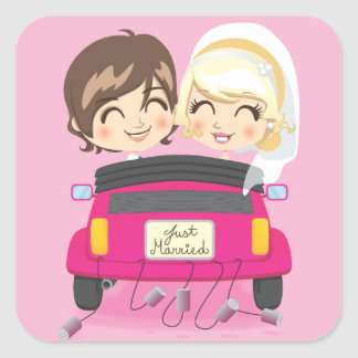 Just Married Couple Square Sticker