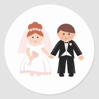 Just Married Couple Stickers Round Sticker