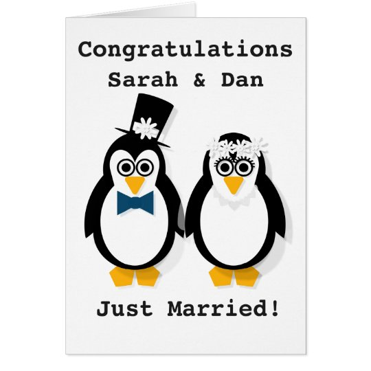 """""""Just Married!"""" Customisable Penguin Wedding Card"""