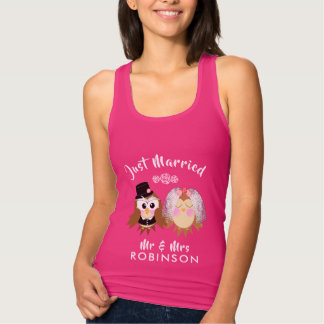 Just Married Cute Owl Bride and Groom Personalized Tank Top