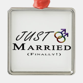 Just Married (Finally) Gay Pride Christmas Ornament