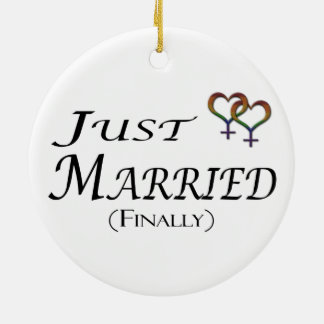 Just Married (Finally) Lesbian Pride Christmas Ornament