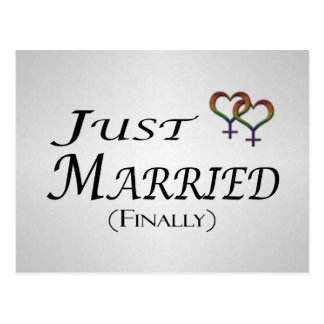 Just Married (Finally) Lesbian Pride Postcard