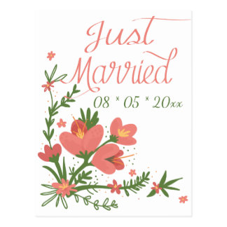 Just Married Floral Coral Pink Flowers Wedding Postcard