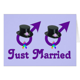 Just Married Formal Gay Male Greeting Card