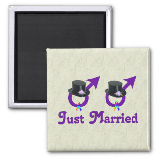 Just Married Formal Gay Male Fridge Magnet