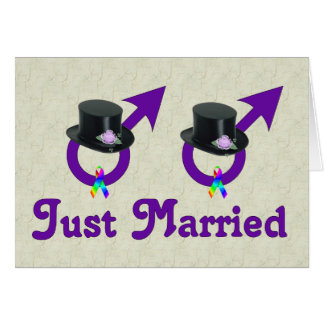 Just Married Formal Gay Male Note Card