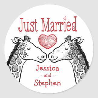 Just Married Giraffe Black, Red Burgundy Wedding Classic Round Sticker