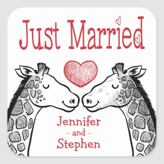 Just Married Giraffe Black, Red Burgundy Wedding Square Sticker