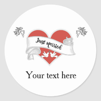 Just Married Glossy Stickers - Customizable