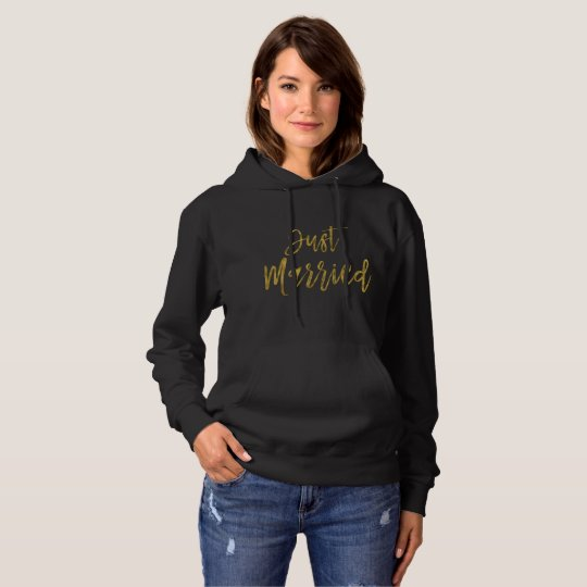 Just Married Gold Foil Typography Hoodie