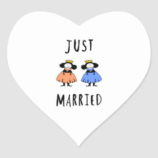Just Married Heart Sticker
