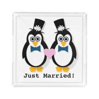 """""""Just Married!"""" His & His Tray"""