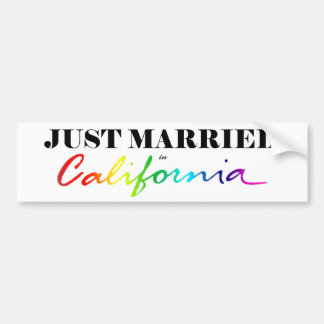 Just Married in California Pride Bumper Sticker
