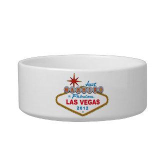 Just Married In Fabulous Las Vegas 2012 Vegas Sign Cat Food Bowl
