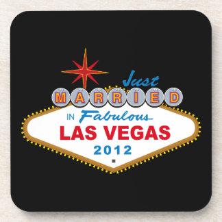 Just Married In Fabulous Las Vegas 2012 Vegas Sign Drink Coaster