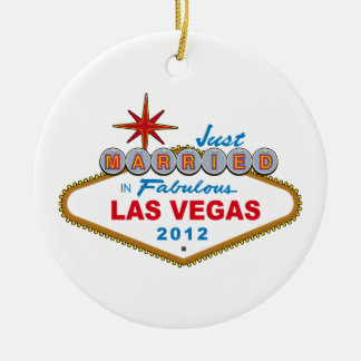 Just Married In Fabulous Las Vegas 2012 Vegas Sign Round Ceramic Decoration