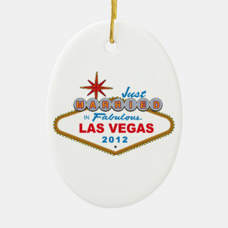 Just Married In Fabulous Las Vegas 2012 Vegas Sign Ceramic Oval Decoration