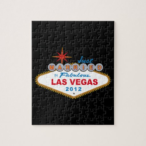Just Married In Fabulous Las Vegas 2012 Vegas Sign Jigsaw Puzzle