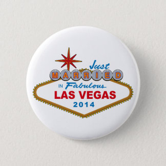 Just Married In Fabulous Las Vegas 2014 (Sign) 6 Cm Round Badge