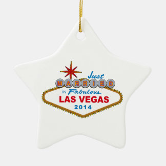 Just Married In Fabulous Las Vegas 2014 (Sign) Ceramic Star Decoration