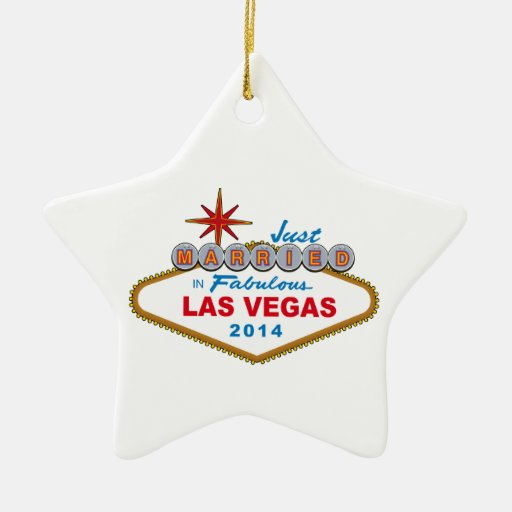 Just Married In Fabulous Las Vegas 2014 (Sign) Christmas Tree Ornaments