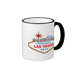 Just Married In Fabulous Las Vegas 2014 (Sign) Coffee Mugs