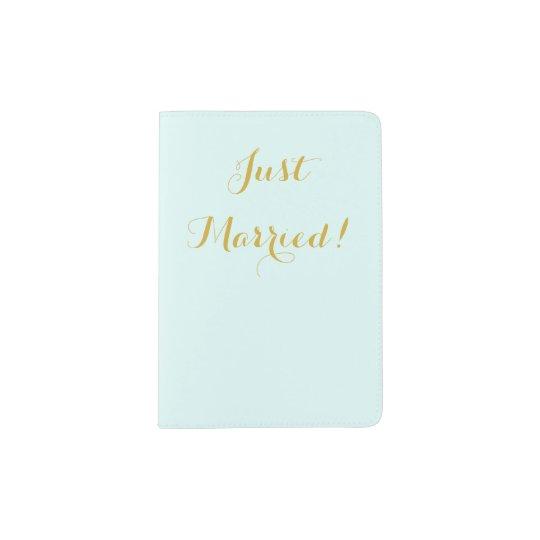 Just married in gold honeymoon passport holder
