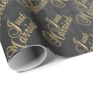 Just Married in Gold Script Font on Chalkboard Wrapping Paper