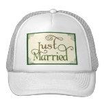 Just Married in swirl fun font Trucker Hat