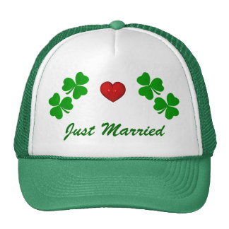 Just Married Irish Shamrock with red heart Cap