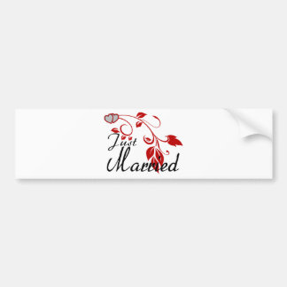 Just Married Joined Hearts Floral Vines Bumper Sticker