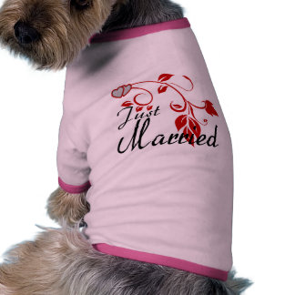 Just Married Joined Hearts Floral Vines Dog Clothing