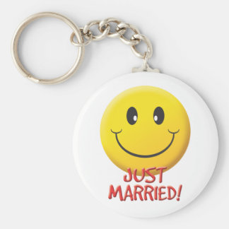 Just Married Basic Round Button Key Ring