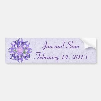 Just Married Lavender Rose Bumper Sticker