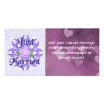 Just Married Lavender Rose Photo Greeting Card