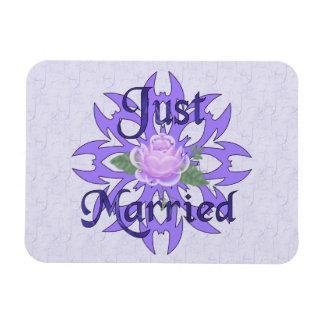 Just Married Lavender Rose Vinyl Magnet