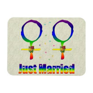Just Married Lesbians Vinyl Magnet