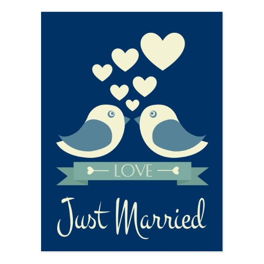 Just Married Lovebirds Blue Wedding Postcard