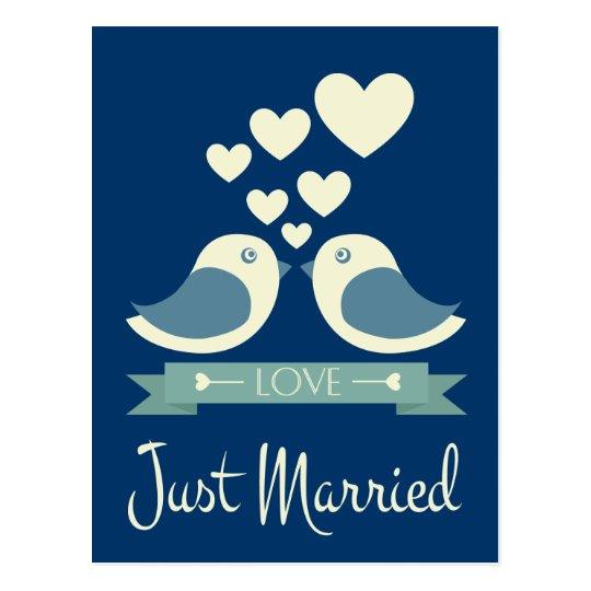 Just Married Lovebirds Blue Wedding Postcard