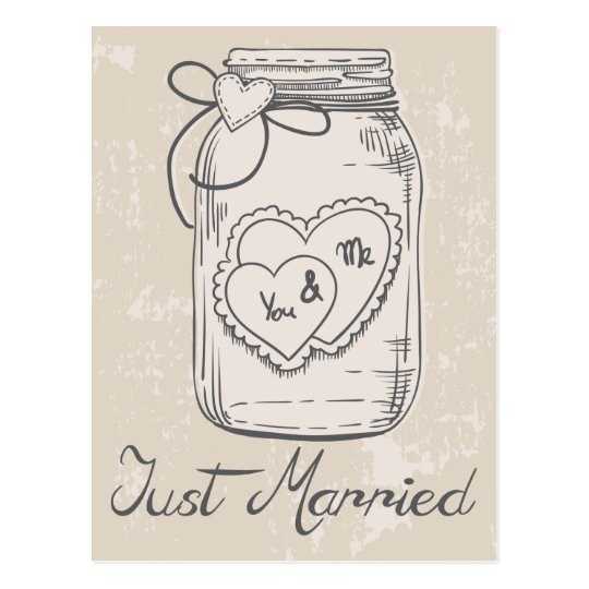 Just Married Mason Jar Hearts Tan Brown Wedding