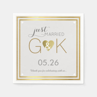 just married + monogram . wedding reception nice disposable serviette