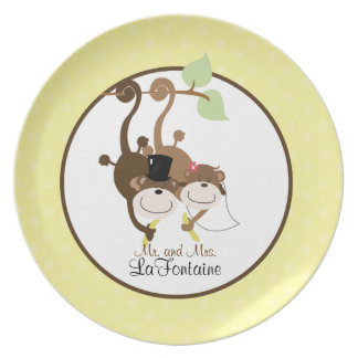 Just Married Mr and Mrs Monkey Wedding Plate