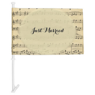 Just Married Music Theme Wedding Car Flag