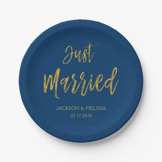 Just Married Navy Blue and Gold Foil Paper