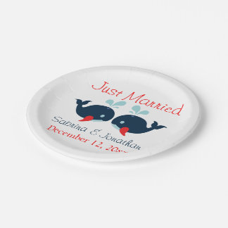 Just Married Navy Blue Red Whales Nautical Wedding Paper Plate