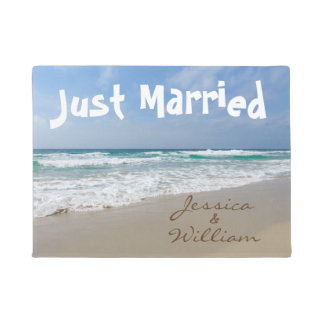 Just Married on the Beach Personalized Names Doormat