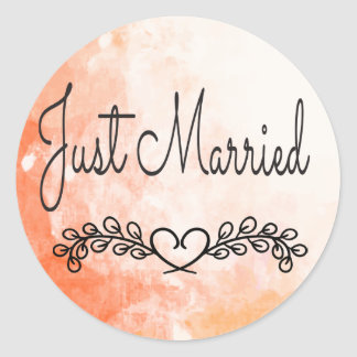 Just Married Orange Watercolor Laurel  Heart Classic Round Sticker