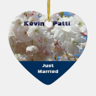 Just Married ornaments Newly Wed gifts Blossoms